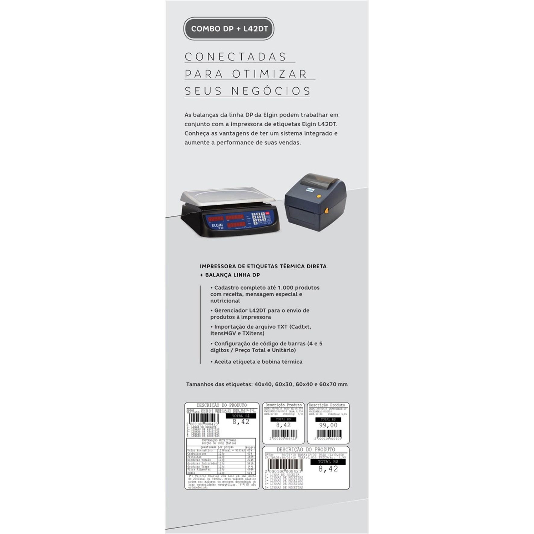 L42DT Elgin Term Dir. 7 POL/SEG EPL/ZPL USB E Serial S/ Ribb